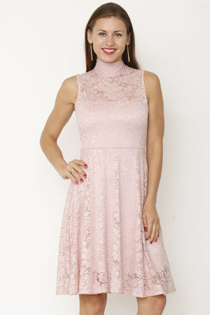 Pink Bow-Tie Neck Lace Dress