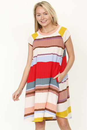 Pink & Red Stripe Cap Sleeve Raglan Swing Dress