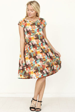 Sage & Orange Paint Brush Pattern Midi Dress