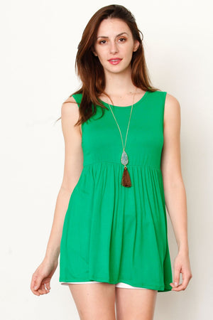 Green High Waist Bow Tie Back Tunic