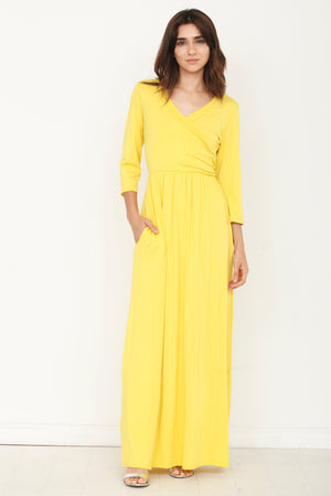 Yellow Surplice Maxi Dress with Pocket