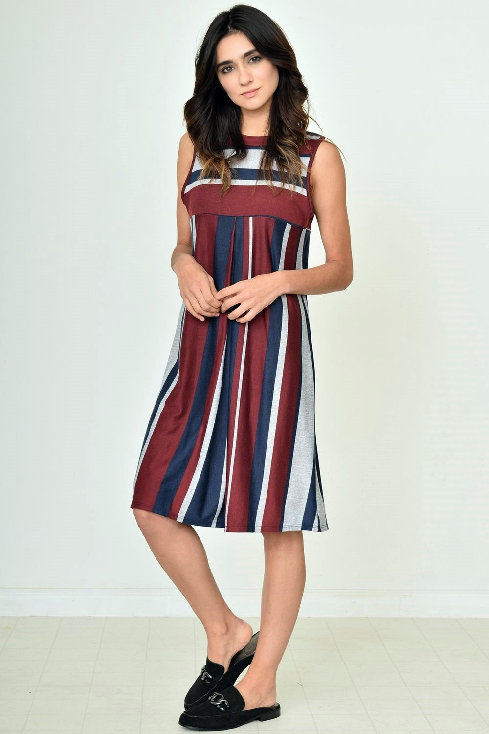 Burgundy & Navy Multi Stripe Gathered Back Dress