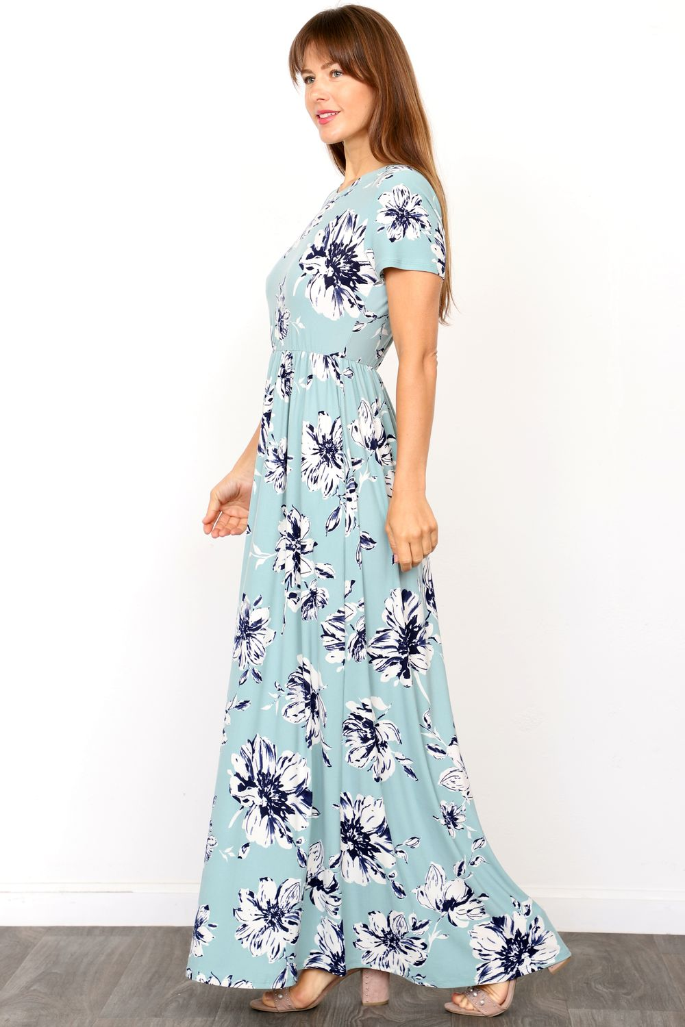 Mint Spring Short Sleeve Maxi Dress