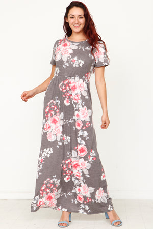 Vintage Charcoal & Pink Floral Short Sleeve Maxi Dress_Plus