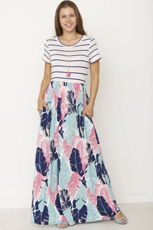Stripe Short Sleeve Tropical Leaves Maxi Dress