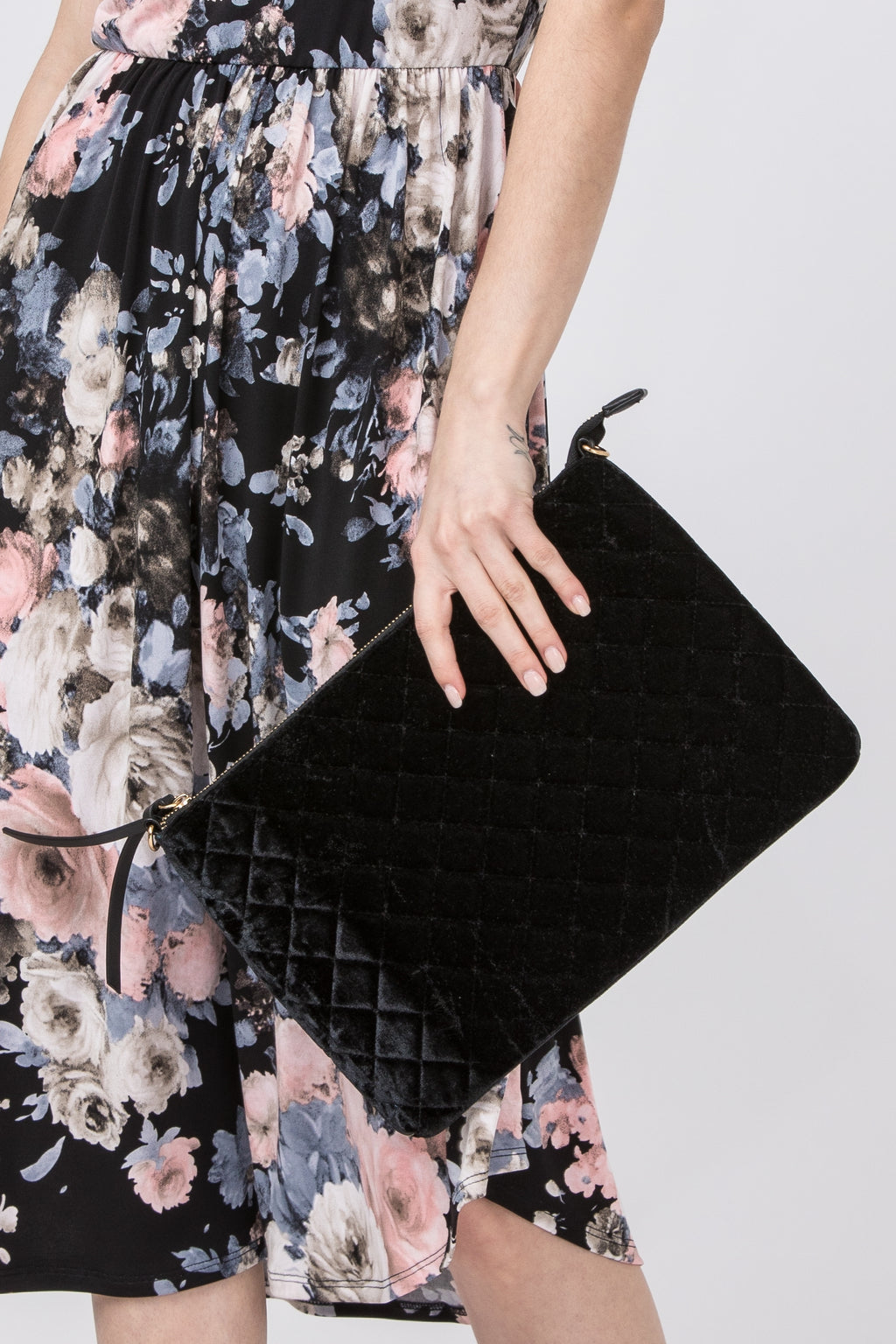 Black Quilted Velvet Clutch