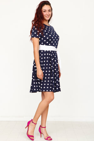 Navy Polka Dot with Sash Midi Dress_Plus