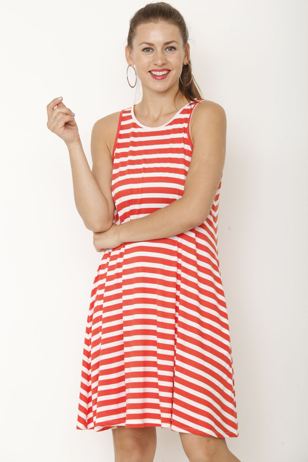 Red Stripe Sleeveless Swing Dress