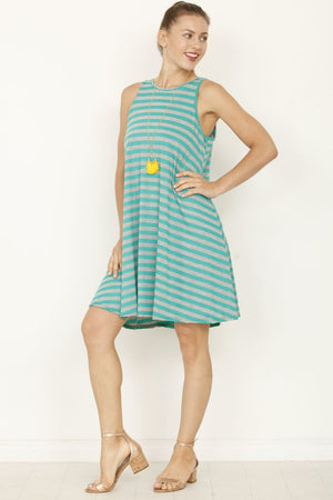 Stripe High Neck Sleeveless Swing Dress