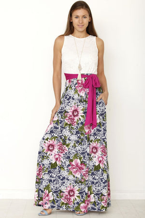 Lace Top Magenta Sash Floral Maxi Dress