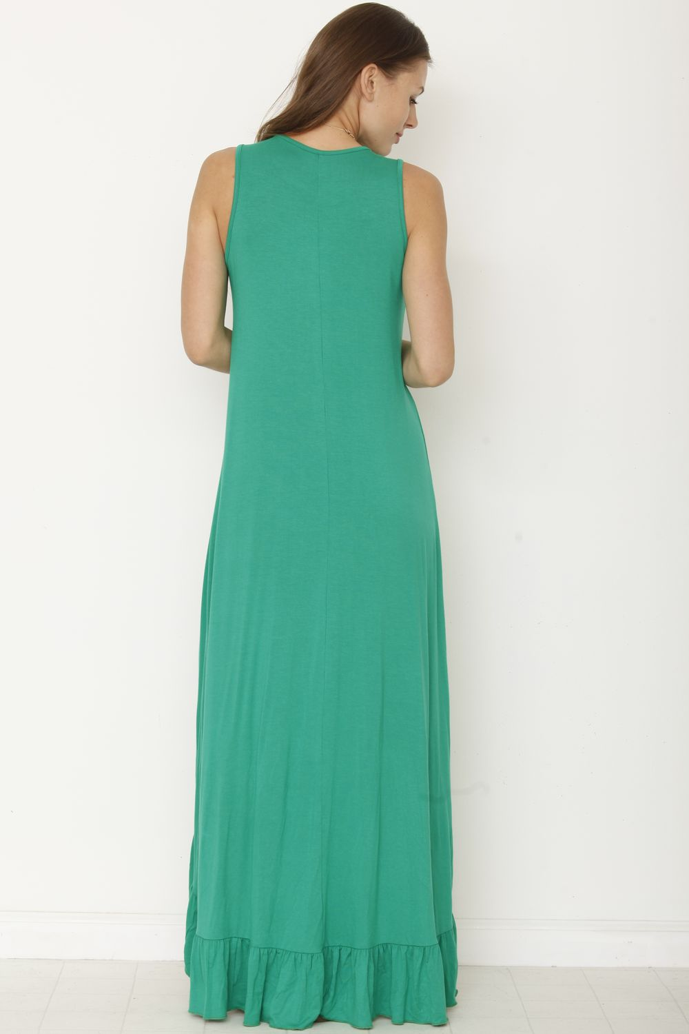 Solid Green Sleeveless High Low Maxi Dress