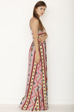 Red & Yellow Tribal Sleeveless Maxi Dress