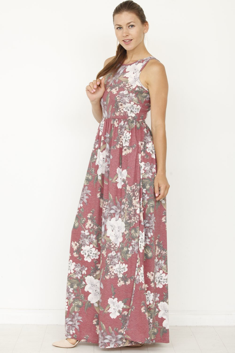Vintage Burgundy Floral Sleeveless Maxi Dress