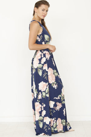 Navy & Pink Floral Sleeveless Maxi Dress_Plus