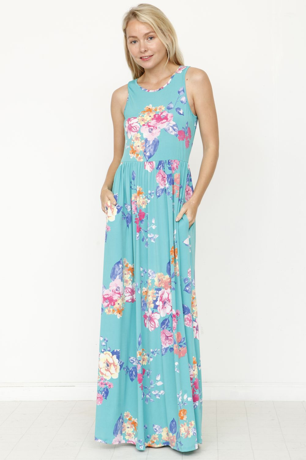 Aqua Floral Sleeveless Maxi Dress