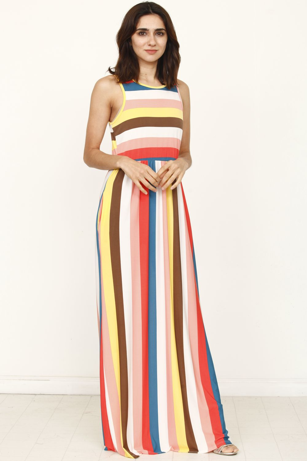 Coral & Yellow Stripe Sleeveless Maxi Dress