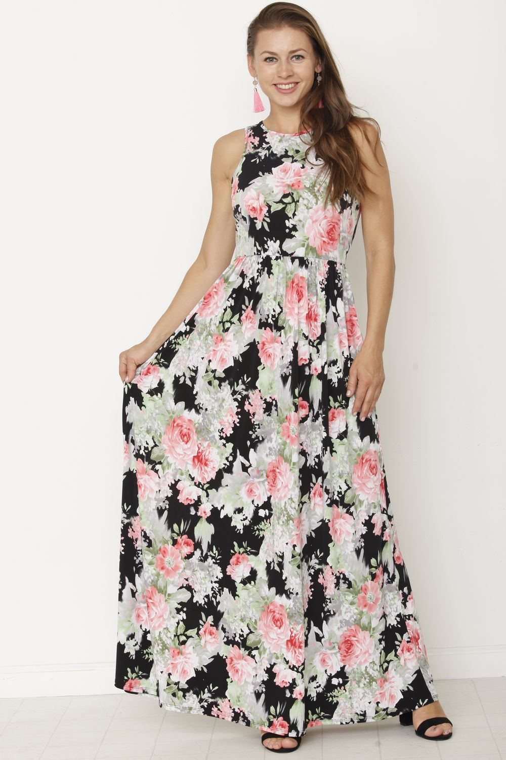 Black & Green Floral Sleeveless Maxi Dress