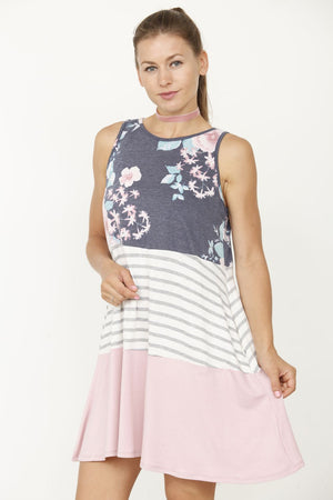 Navy Floral & Pink Tiered Sleeveless Mini Dress_Plus