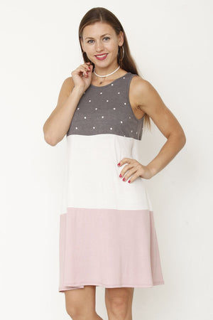 Charcoal Polka Dot & Pink Tiered Sleeveless Mini Dress