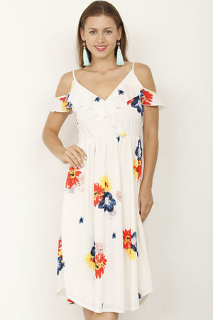 Ivory Floral Cold Shoulder Midi Dress