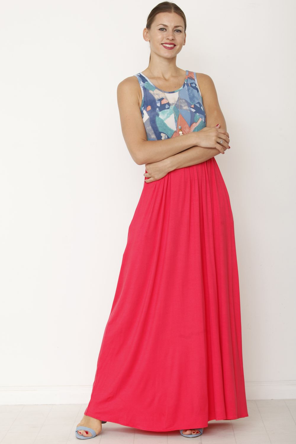 Abstract Coral Sleeveless Maxi Dress
