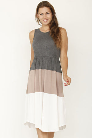 Charcoal & Mocha Color Block Sleeveless Midi Dress