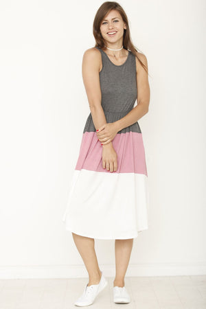 Charcoal & Pink Color Block Sleeveless Midi Dress