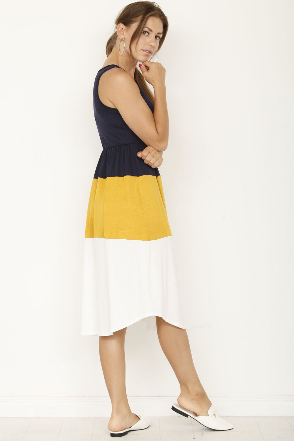 Navy & Mustard Color Block Sleeveless Midi Dress