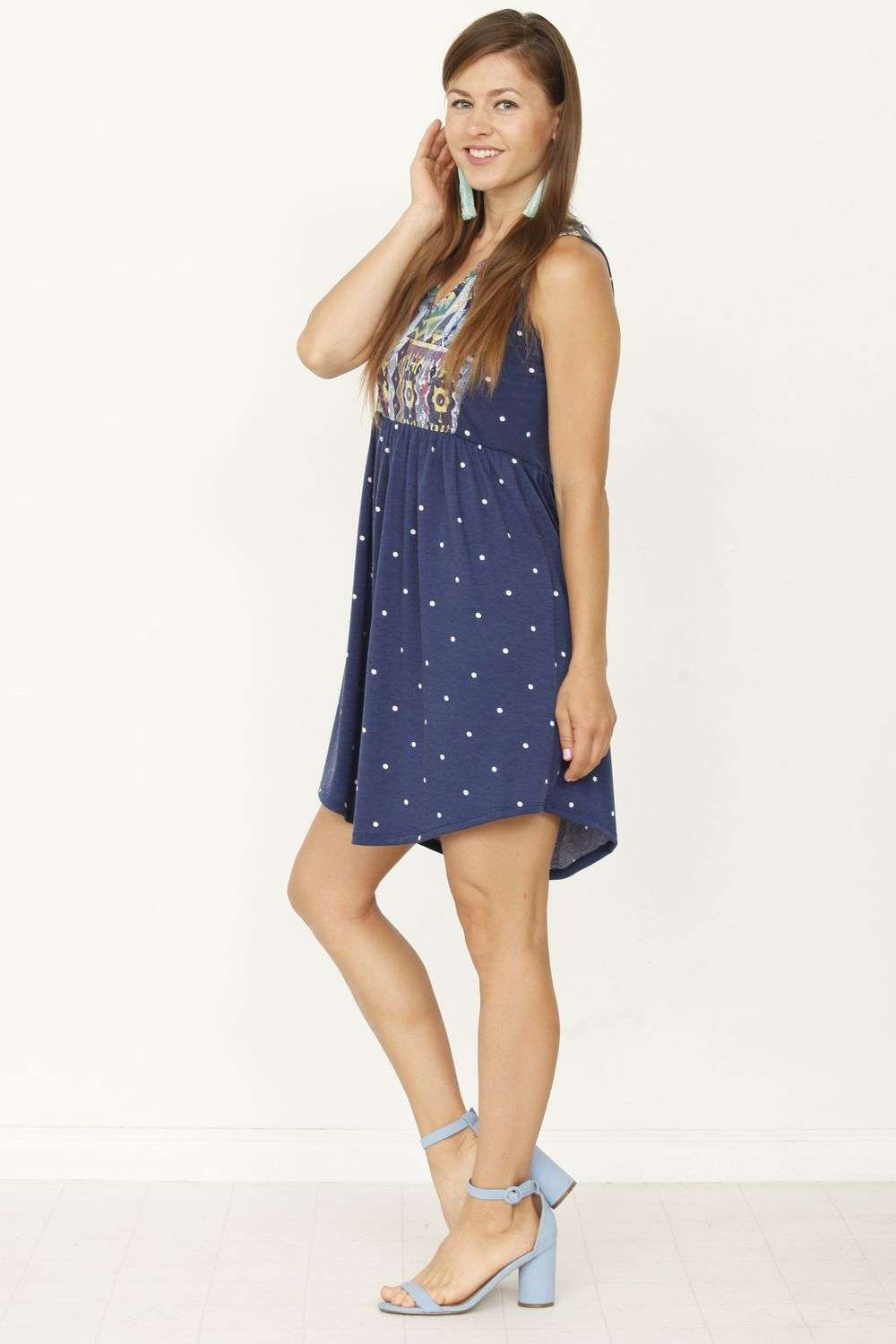 Navy Polka Dot Tribal Front Sleeveless Mini Dress