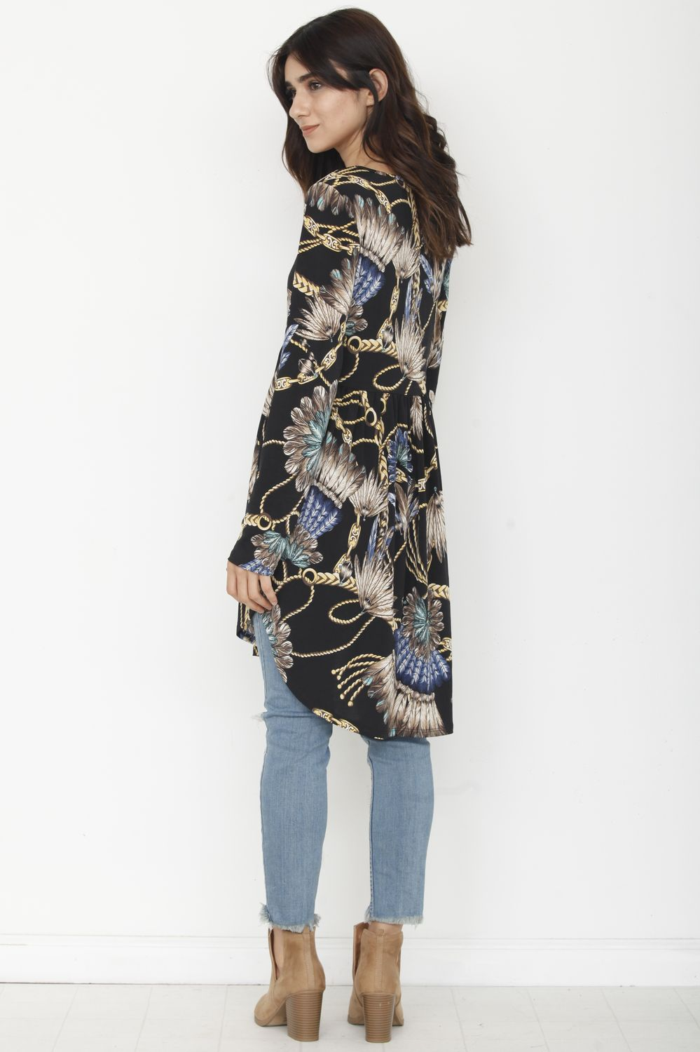 Black Chain Print Empire Waist Tunic