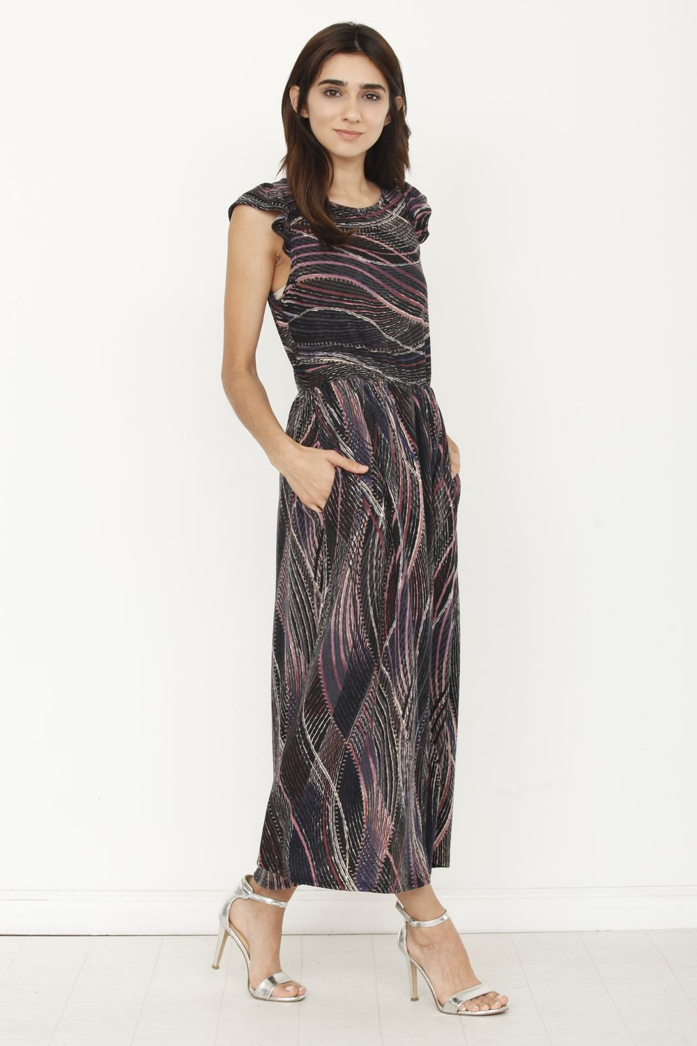 Black Wavy Tribal Ruffle Cap Sleeve Midi Dress