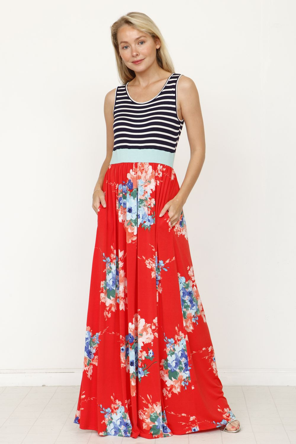 Navy Stripe Mint Band Coral Floral Maxi Dress