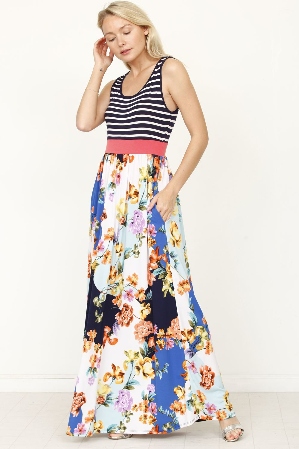 Navy Stripe Coral Band Floral Maxi Dress_Plus