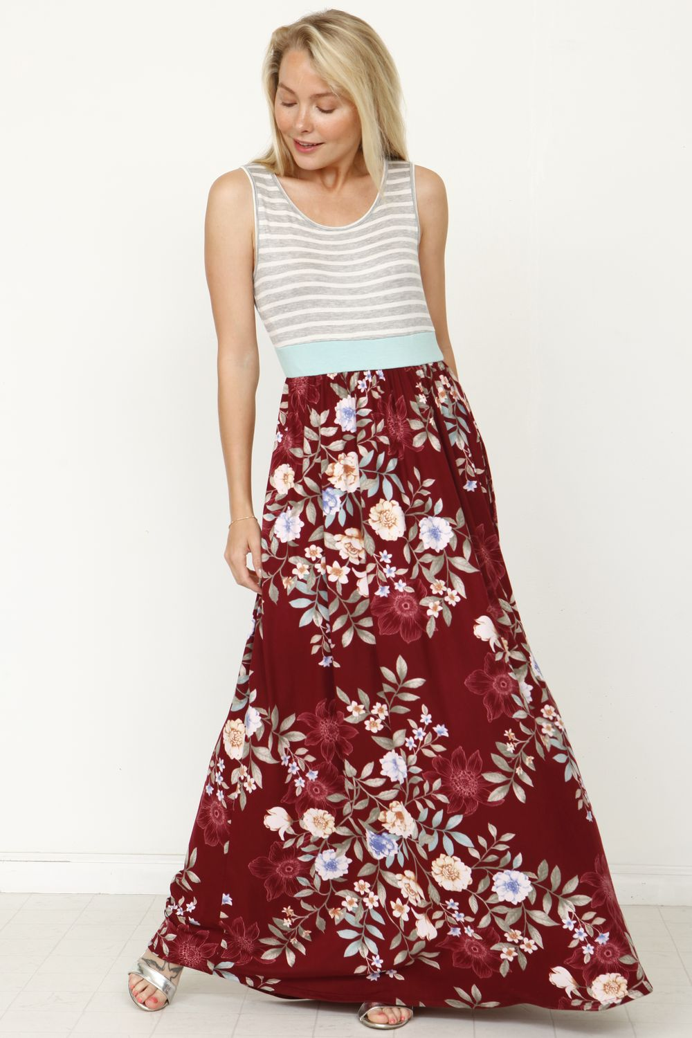 Stripe Band Burgundy Floral Maxi Dress_Plus