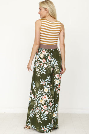 Stripe Band Green Floral Maxi Dress_Plus