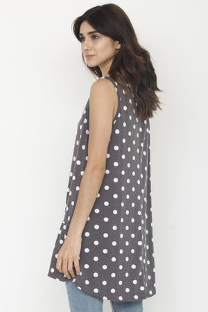 Charcoal Polka Dot Sleeveless Tunic