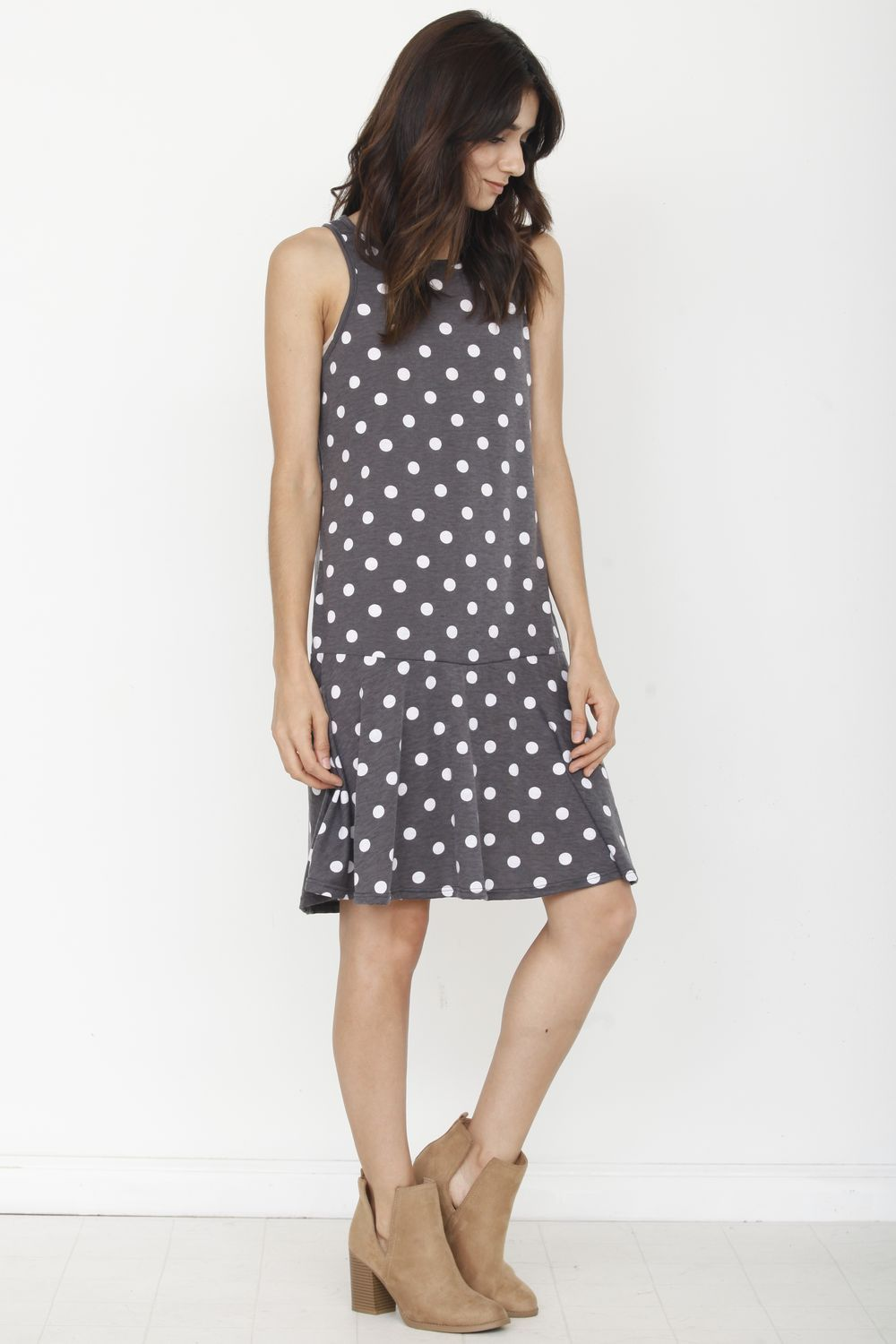 Charcoal Polka Dot Sleeveless Mini Dress