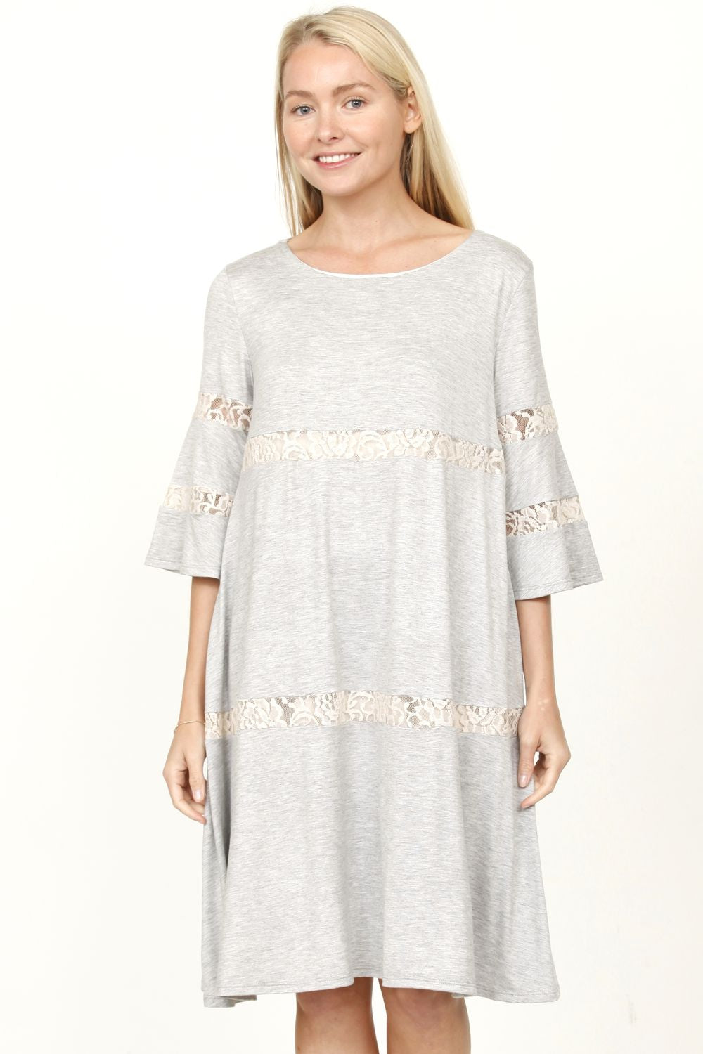 Grey & Cream Lace Tiered Ruffle Sleeve Swing Dress_Plus