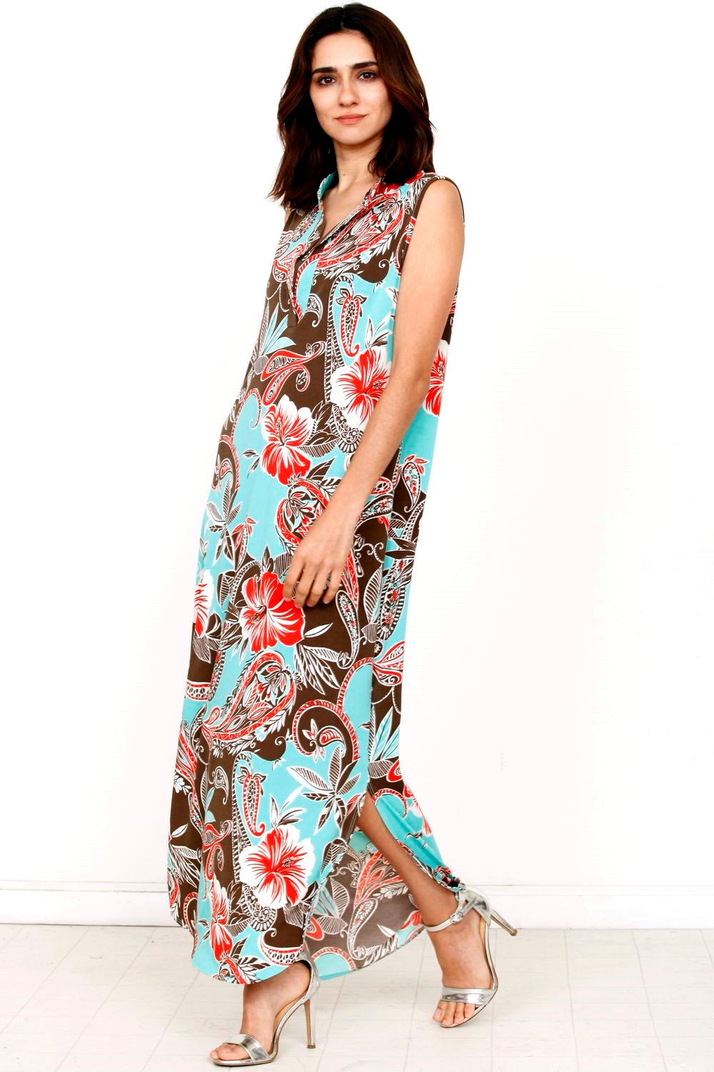 Mint & Coral Hawaiian Mandarin Collar Maxi Dress