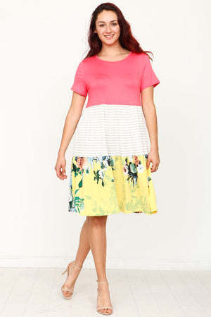 Coral & Yellow Short Sleeve Floral Tiered Midi Dress_Plus