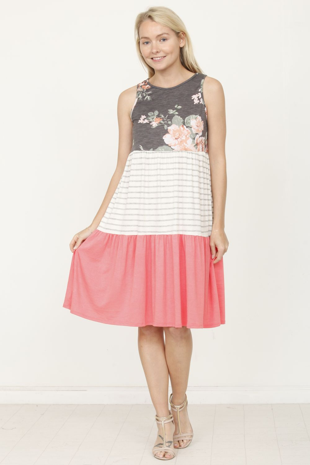 Charcoal Floral & Coral Tiered Sleeveless Mini Dress