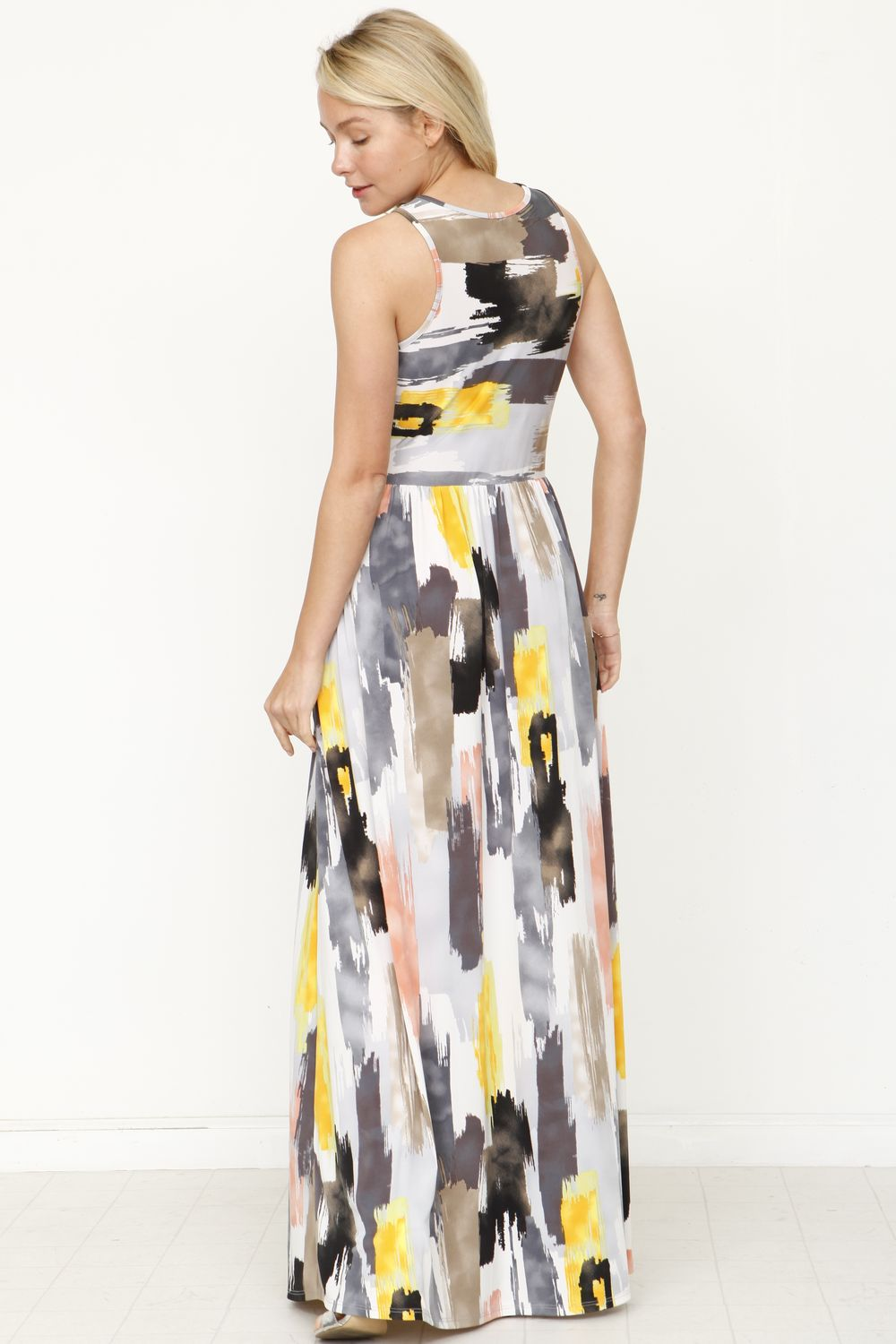 Charcoal Water Color Maxi Dress