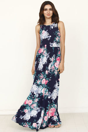 Navy Aqua Floral Sleeveless Maxi Dress