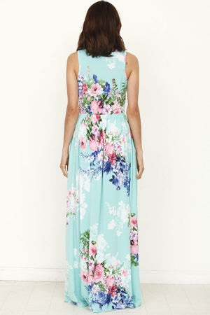 Sleeveless Mint Floral Maxi Dress