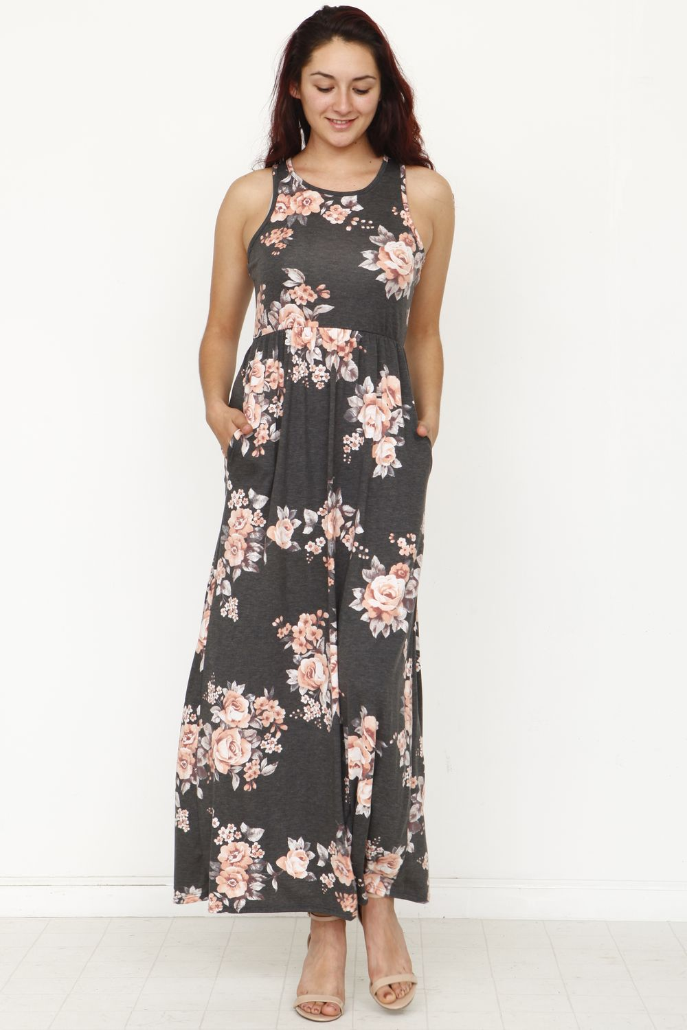 Vintage Charcoal & Coral Floral Sleeveless Maxi Dress_Plus