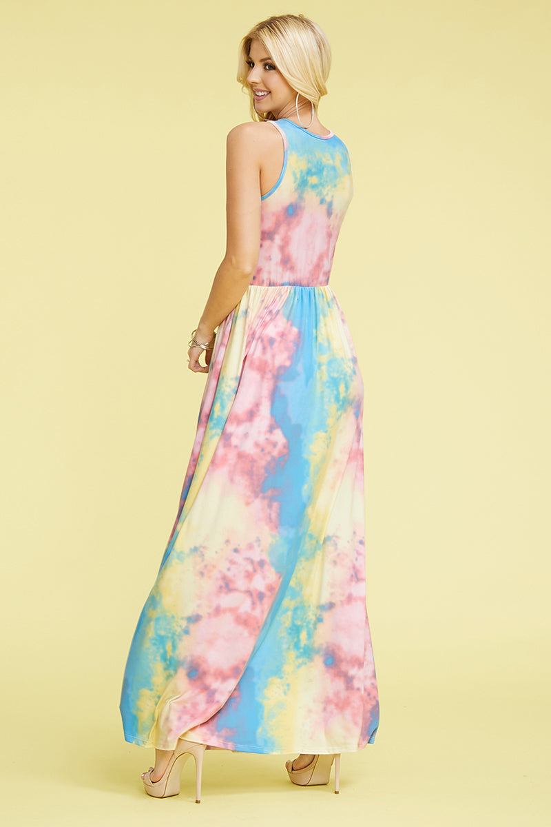Pink & Yellow Tie Dye Sleeveless Maxi Dress