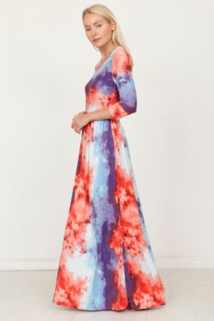 Purple & Red Tie Dye 3/4 Sleeve Maxi Dress_Plus