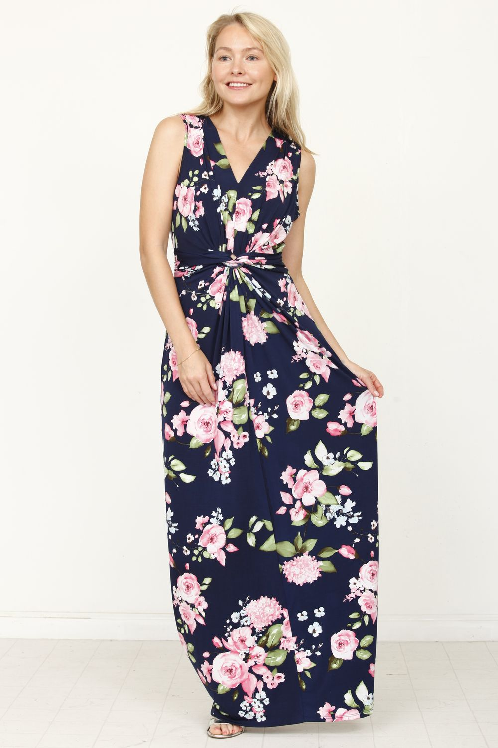 Navy & Pink Floral Twist Front Sleeveless Maxi Dress