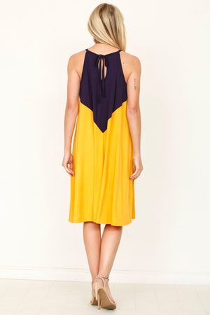 Navy & Mustard Halter Top A-Line Midi Dress