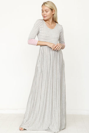 Grey Stripe Pink Cuff Maxi Dress